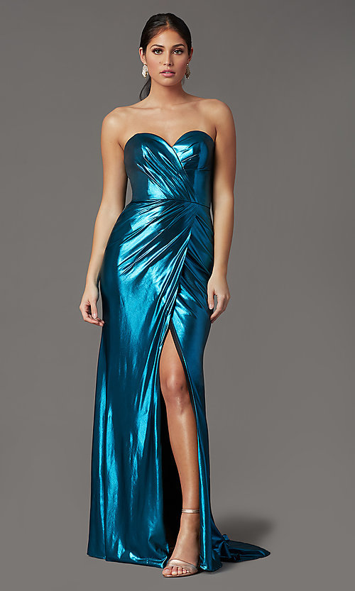 Image of long strapless faux-wrap prom dress. Style: FB-GL2894 Detail Image 2