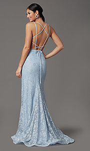 Image of backless sparkly long prom dress in floral lace. Style: FB-GL2898 Detail Image 4