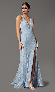 Image of backless sparkly long prom dress in floral lace. Style: FB-GL2898 Detail Image 6