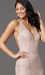 Image of backless sparkly long prom dress in floral lace. Style: FB-GL2898 Detail Image 1