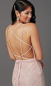 Image of backless sparkly long prom dress in floral lace. Style: FB-GL2898 Detail Image 2
