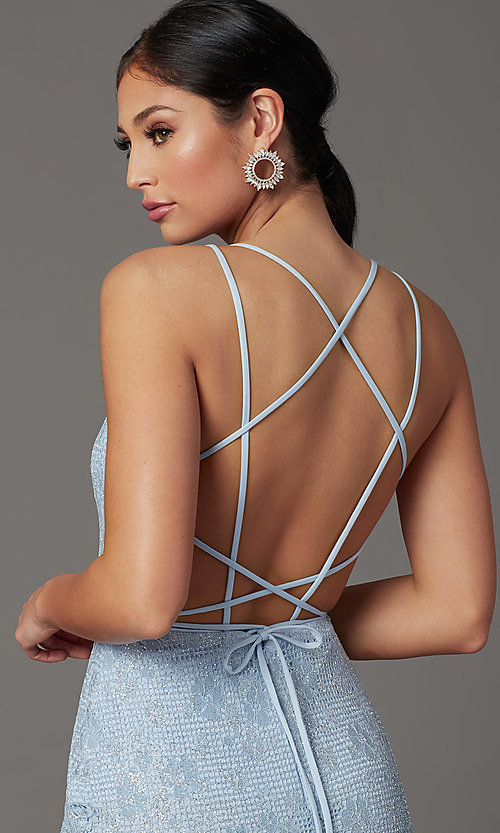 Image of backless sparkly long prom dress in floral lace. Style: FB-GL2898 Detail Image 5