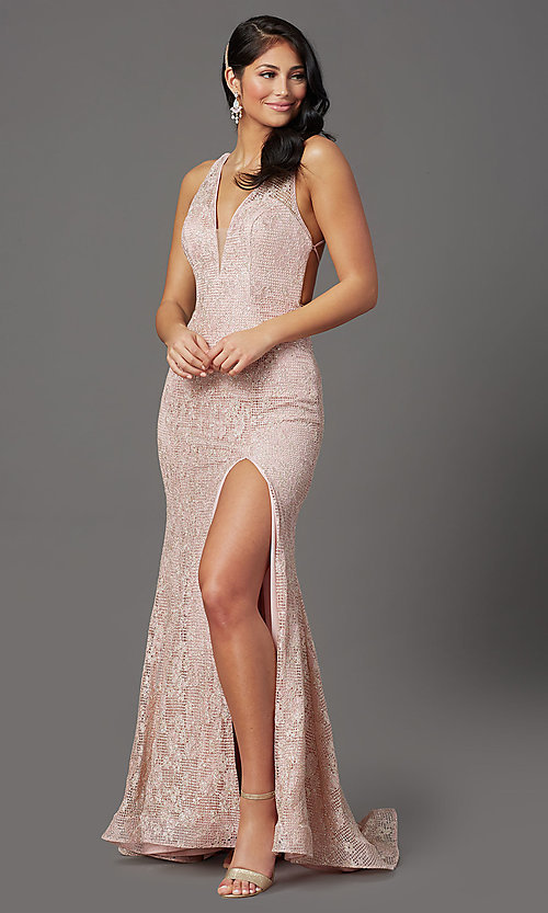 Image of backless sparkly long prom dress in floral lace. Style: FB-GL2898 Front Image