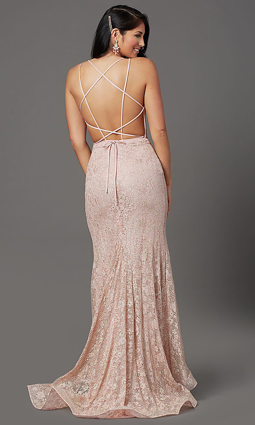 Image of backless sparkly long prom dress in floral lace. Style: FB-GL2898 Back Image