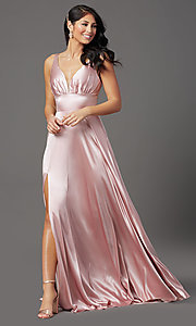 Image of satin mauve pink long formal prom dress with slit. Style: FB-GL2954 Front Image