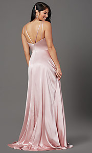 Image of satin mauve pink long formal prom dress with slit. Style: FB-GL2954 Back Image
