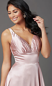 Image of satin mauve pink long formal prom dress with slit. Style: FB-GL2954 Detail Image 1