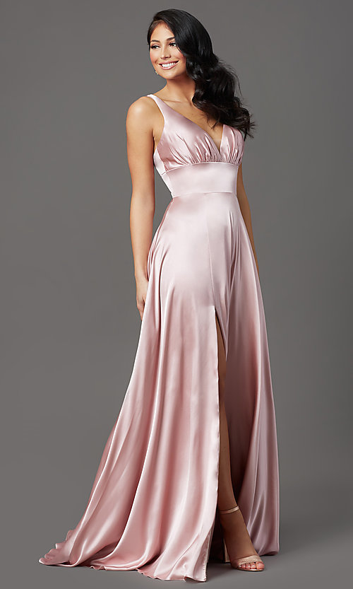 Image of satin mauve pink long formal prom dress with slit. Style: FB-GL2954 Detail Image 2