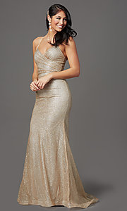 Image of sparkly long gold prom dress in glitter knit. Style: FB-GL2988 Detail Image 2