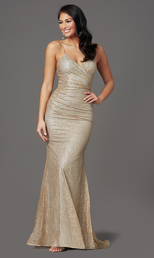 Image of sparkly long gold prom dress in glitter knit. Style: FB-GL2988 Front Image