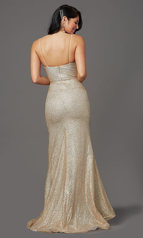 Image of sparkly long gold prom dress in glitter knit. Style: FB-GL2988 Back Image