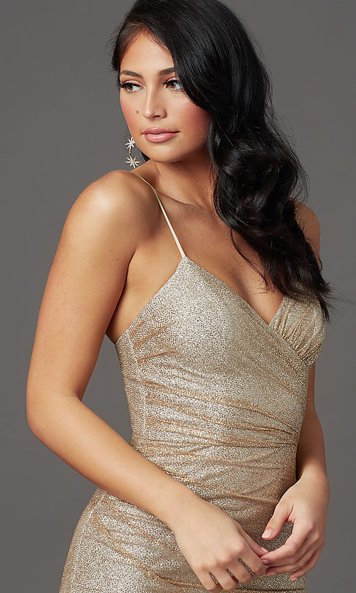 Image of sparkly long gold prom dress in glitter knit. Style: FB-GL2988 Detail Image 1