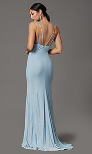 Image of sparkly blue formal prom dress in glitter knit. Style: FB-GL2895-1 Back Image