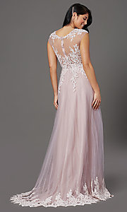 Image of long embellished-tulle prom dress with cap sleeves. Style: FB-GL2886 Back Image