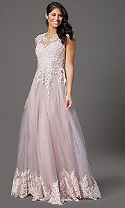 Image of long embellished-tulle prom dress with cap sleeves. Style: FB-GL2886 Detail Image 2