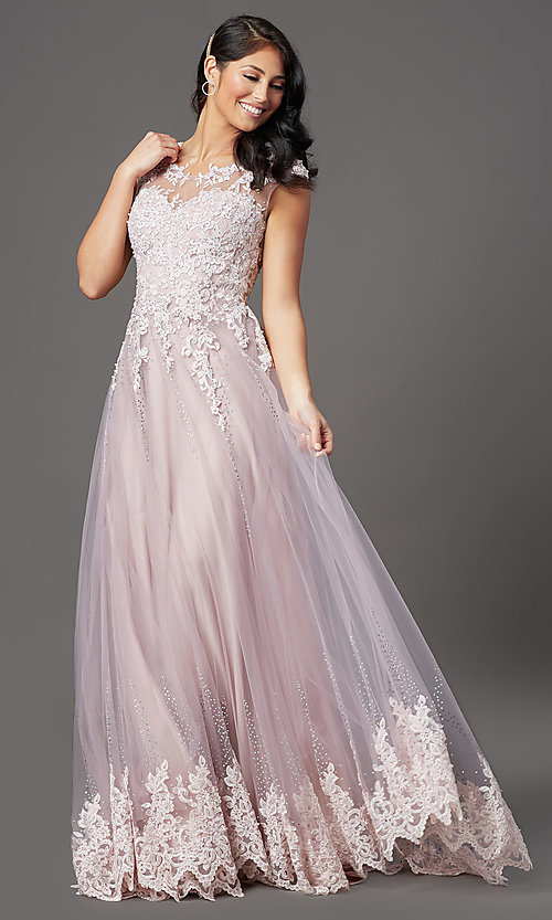 Image of long embellished-tulle prom dress with cap sleeves. Style: FB-GL2886 Front Image