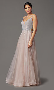 Image of beaded-bodice long mauve pink formal prom dress. Style: FB-GL2891 Detail Image 2