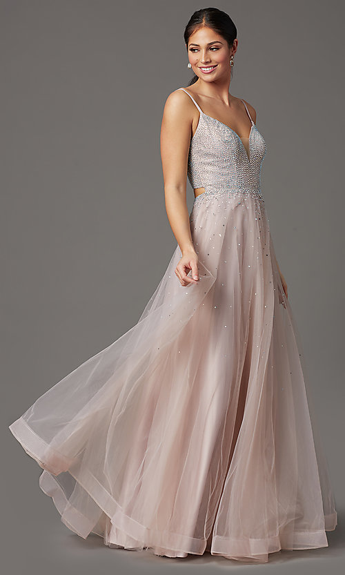 Image of beaded-bodice long mauve pink formal prom dress. Style: FB-GL2891 Front Image