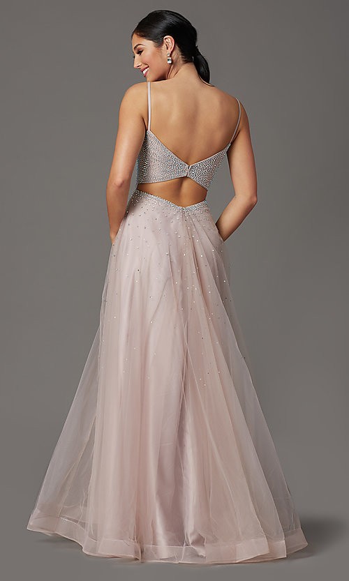 Image of beaded-bodice long mauve pink formal prom dress. Style: FB-GL2891 Back Image