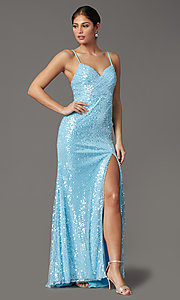 Image of long sequin formal prom dress with open back. Style: FB-GL2893 Detail Image 2