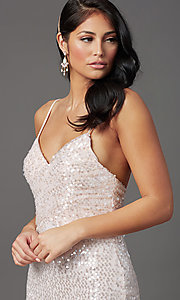 Image of long sequin formal prom dress with open back. Style: FB-GL2893 Detail Image 3