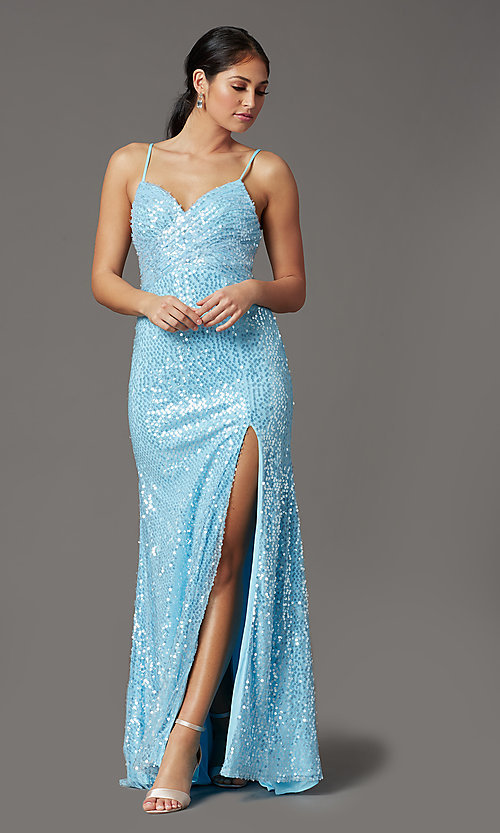 Image of long sequin formal prom dress with open back. Style: FB-GL2893 Front Image