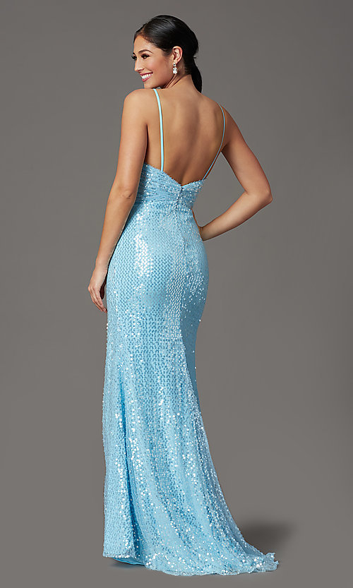 Image of long sequin formal prom dress with open back. Style: FB-GL2893 Back Image