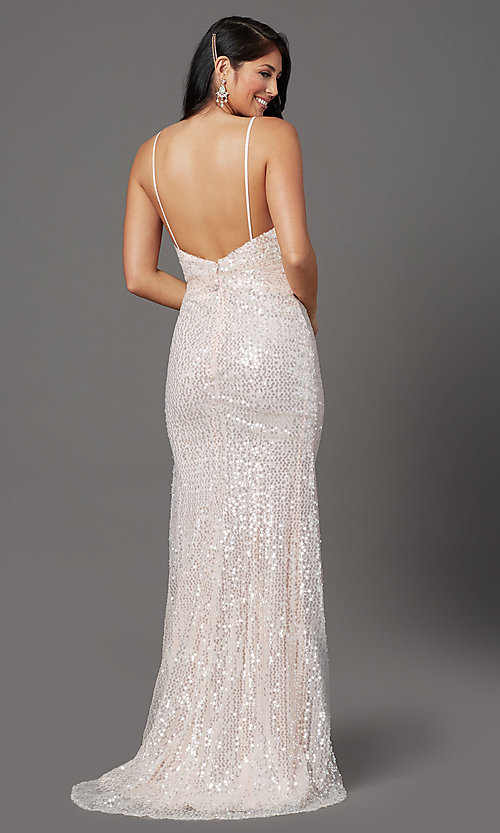 Image of long sequin formal prom dress with open back. Style: FB-GL2893 Detail Image 4