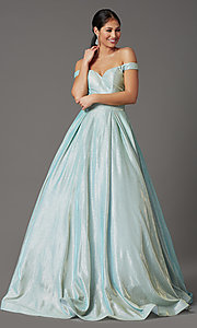 Image of off-shoulder long mint green glitter prom dress. Style: FB-GL2904H Detail Image 2