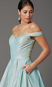 Image of off-shoulder long mint green glitter prom dress. Style: FB-GL2904H Detail Image 1