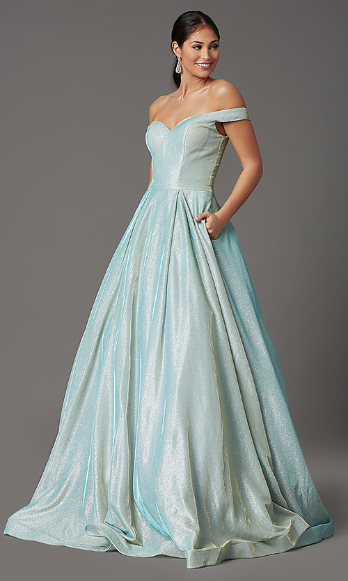 Image of off-shoulder long mint green glitter prom dress. Style: FB-GL2904H Front Image