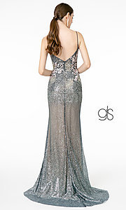 Image of long sparkly rose gold prom dress with embroidery. Style: FB-GL2929 Detail Image 4