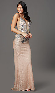 Image of long sparkly rose gold prom dress with embroidery. Style: FB-GL2929 Front Image