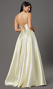 Image of champagne long sparkly formal a-line prom dress. Style: FB-GL2951 Back Image