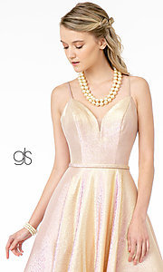 Image of champagne long sparkly formal a-line prom dress. Style: FB-GL2951 Detail Image 5