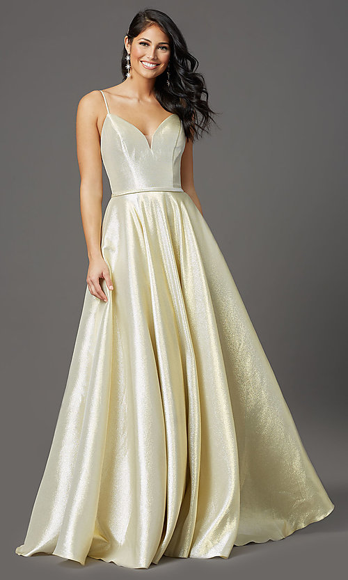 Image of champagne long sparkly formal a-line prom dress. Style: FB-GL2951 Front Image