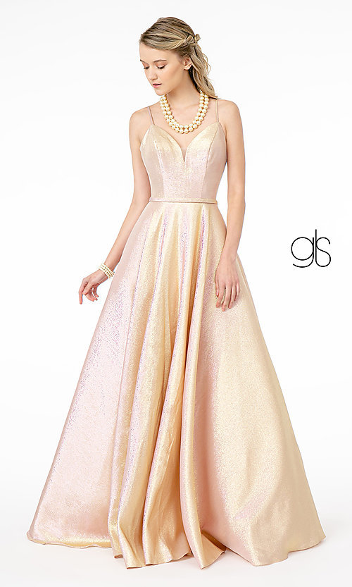 Image of champagne long sparkly formal a-line prom dress. Style: FB-GL2951 Detail Image 3