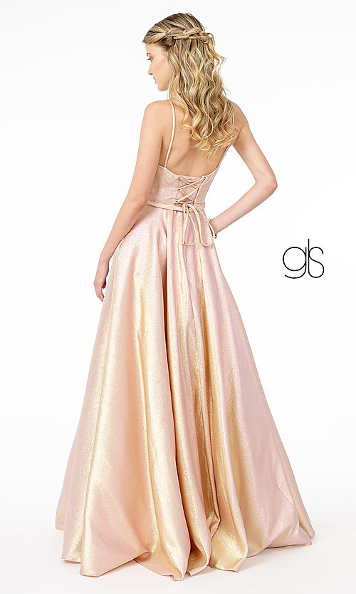 Image of champagne long sparkly formal a-line prom dress. Style: FB-GL2951 Detail Image 4