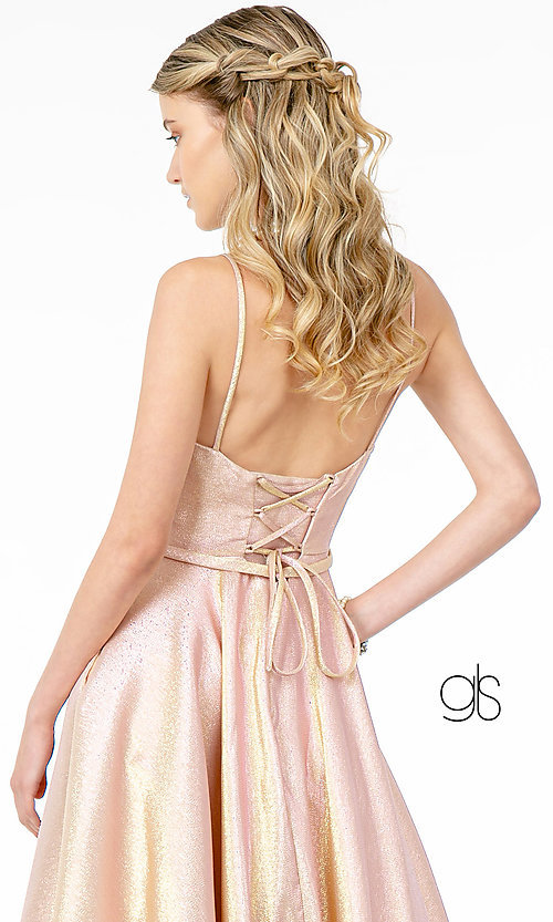 Image of champagne long sparkly formal a-line prom dress. Style: FB-GL2951 Detail Image 6