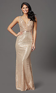 Image of gold long sequin formal prom dress with open back. Style: FB-GL2957 Front Image