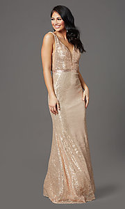 Image of gold long sequin formal prom dress with open back. Style: FB-GL2957 Detail Image 2