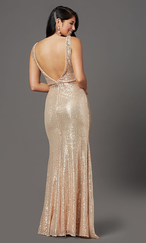 Image of gold long sequin formal prom dress with open back. Style: FB-GL2957 Back Image