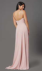 Image of long v-neck mauve pink prom dress in chiffon. Style: FB-GL2963 Back Image