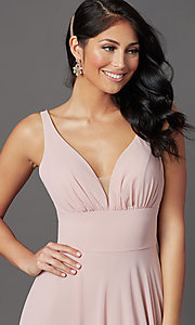 Image of long v-neck mauve pink prom dress in chiffon. Style: FB-GL2963 Detail Image 1
