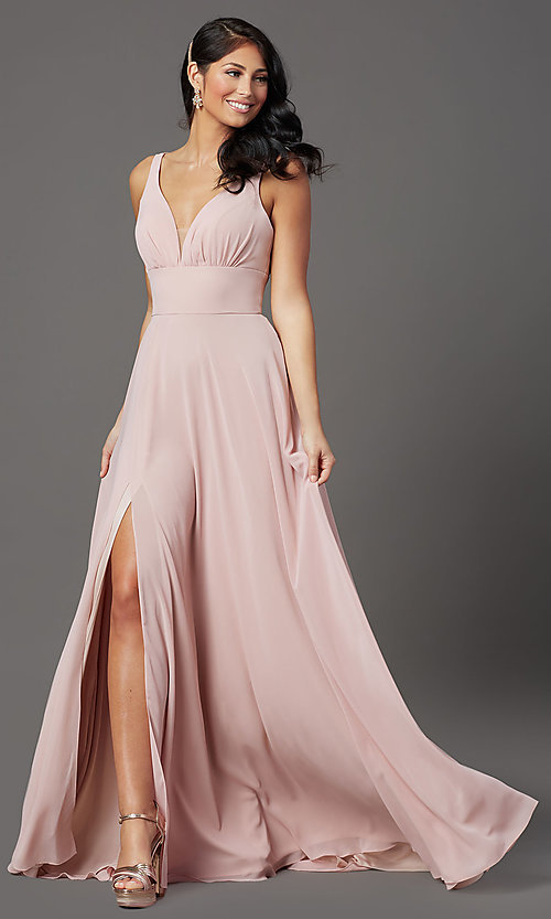 Image of long v-neck mauve pink prom dress in chiffon. Style: FB-GL2963 Front Image