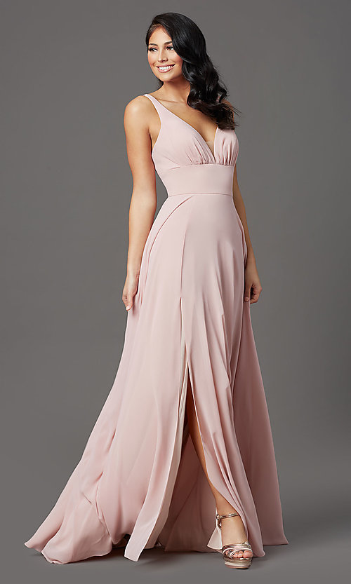 Image of long v-neck mauve pink prom dress in chiffon. Style: FB-GL2963 Detail Image 2