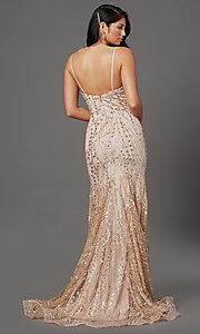 Image of long sequin and glitter mauve prom dress. Style: FB-GL2965 Back Image