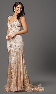 Image of long sequin and glitter mauve prom dress. Style: FB-GL2965 Detail Image 1