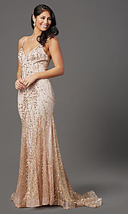 Image of long sequin and glitter mauve prom dress. Style: FB-GL2965 Detail Image 2