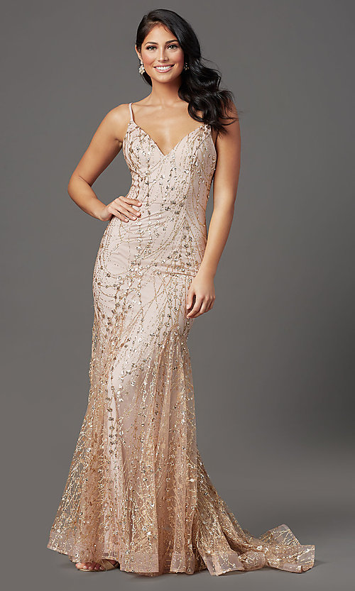Image of long sequin and glitter mauve prom dress. Style: FB-GL2965 Front Image